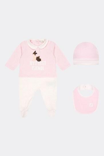 Girls Pink Cotton Babygrow Gift Set