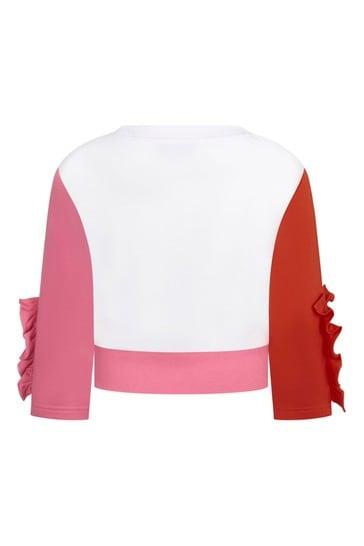 Girls White Cotton Sweater