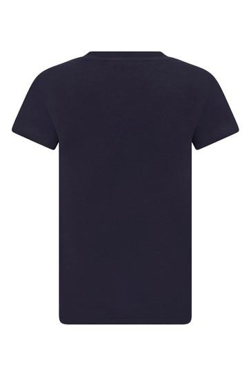 걸즈 블루 코튼 티셔츠