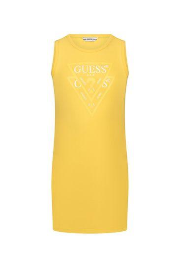 걸스 옐로우 코튼 드레스
