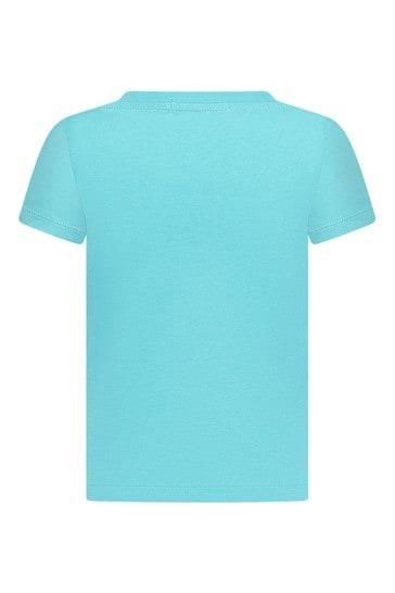 Girls Blue Cotton T-Shirt