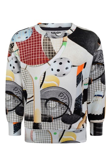 Boys Sports Gear Print Organic Cotton Sweater