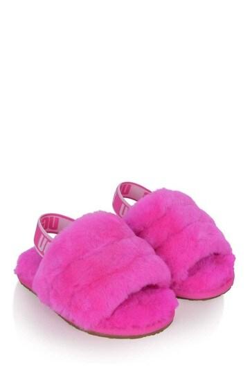 Girls Bright Pink Fluff Yeah Sliders