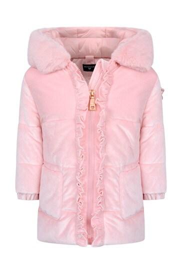 베이비 걸스 핑크 벨벳 다운 패딩 재킷