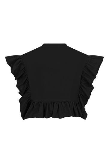 Girls Black Cotton Poncho T-Shirt