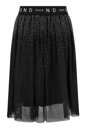 Girls Black Studded Tulle Skirt