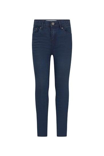 Boys Dark Blue Cotton Blend Jeans