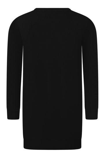 걸스 블랙 코튼 스웨터 드레스