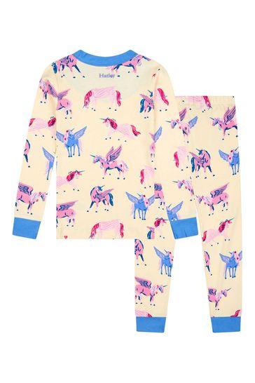Girls Cream Mystical Unicorns Organic Cotton Pyjama Set