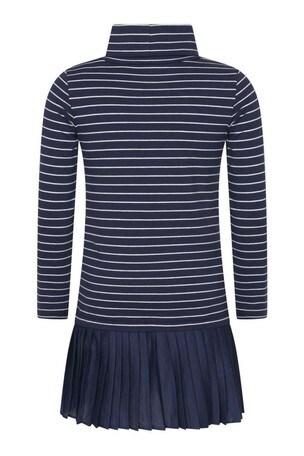 Girls Navy Striped Cotton Turtleneck Dress