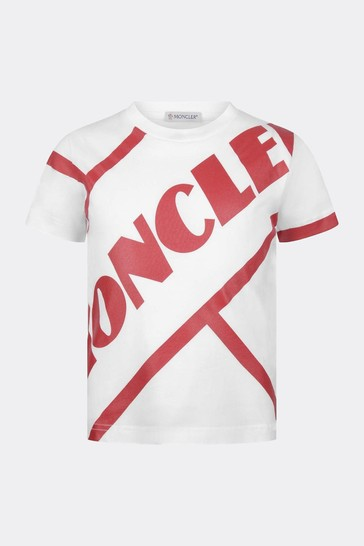 소년 화이트 코튼 로고 프린트 티셔츠