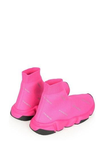 Kids Pink \u0026 Black Logo Speed Trainers