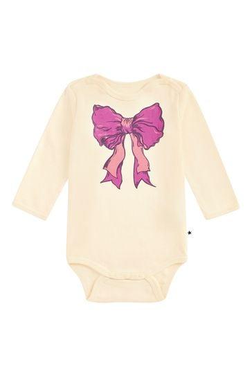 Baby Girls Cream Cotton Babygrow