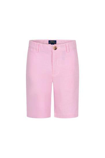 Boys Pink Cotton Shorts