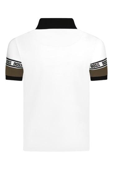 Boys White Cotton Polo Shirt