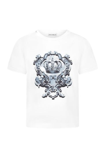 Dolce & Gabbana Boys White Cotton T-Shirt
