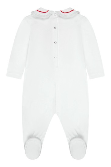 Baby Girls White Cotton Babygrow