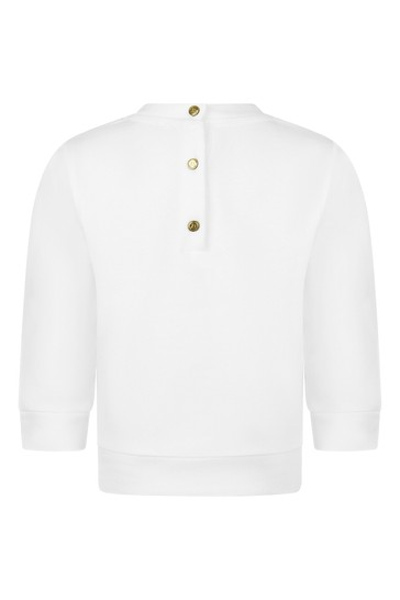 Baby Girls White Cotton Sweater