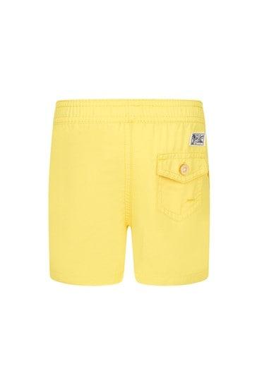 아기 소년 노란색 수영 반바지