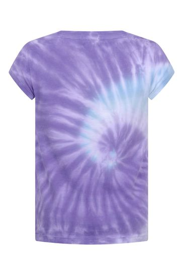 걸스 퍼플 코튼 타이 염료 티셔츠
