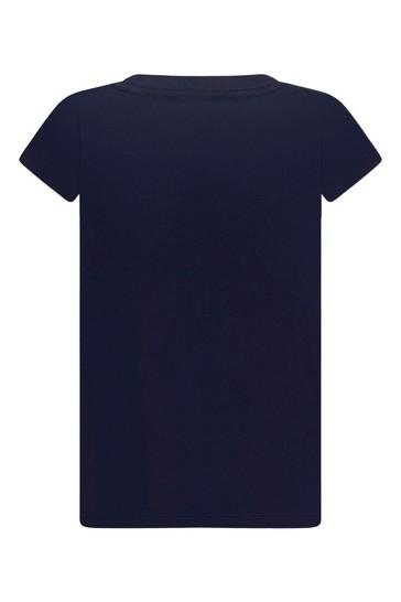Girls Navy Cotton Blend T-Shirt