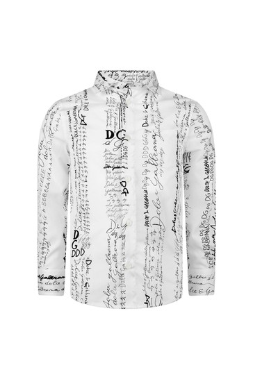 Boys White Cotton Lettering Shirt