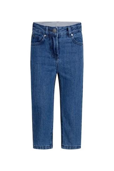 Girls Blue Bicolour Denim Jeans