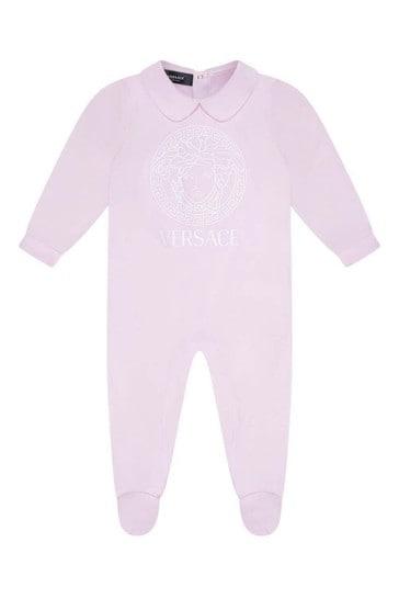 Baby Girls Pink Cotton Logo Babygrow