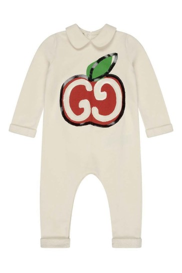 Baby Girls White Cotton Logo Romper