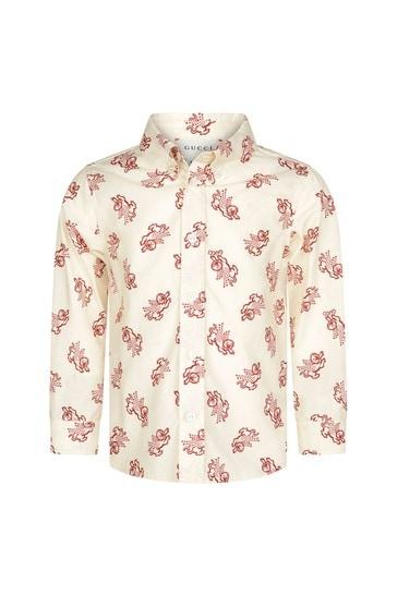 Baby Boys Beige Popeline Printed Shirt