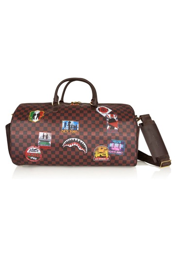 Kids Brown Travel Patches Duffle Bag