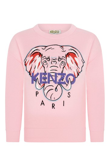 Girls Pink Cotton Elephant Sweater