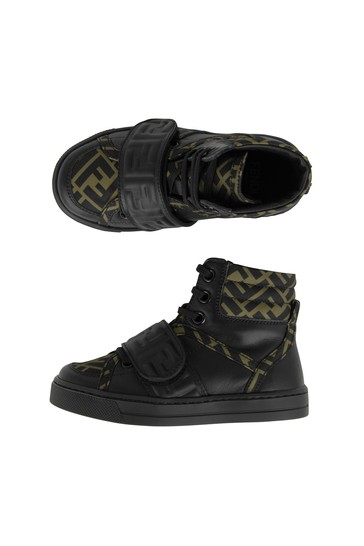 Kids Black/Brown Leather High Top Logo Trainers