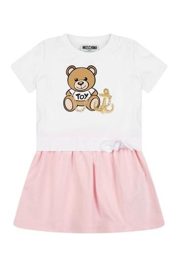 아기 소녀 핑크 코튼 드레스 와 니커