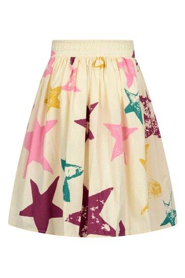 Girls Cream Organic Cotton Star Skirt