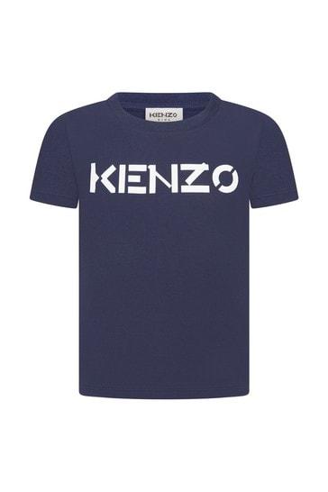 Girls Navy Cotton T-Shirt