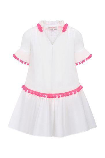 Girls White Cotton Kaftan