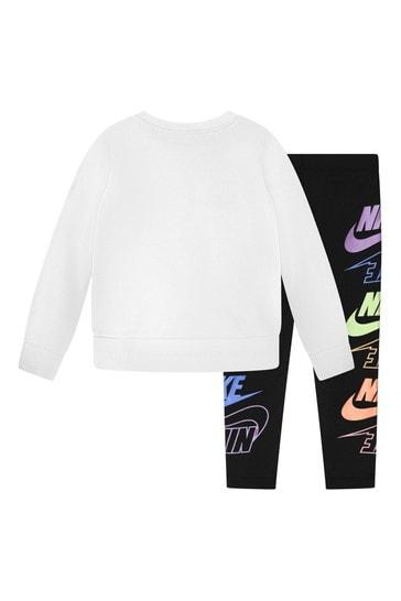 걸스 블랙 & 화이트 코튼 티셔츠 와 레깅스 세트