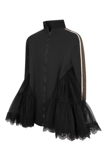 걸스 블랙 실크 드레스