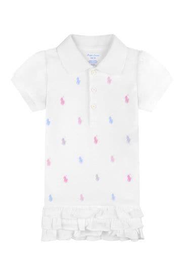 Baby Girls White Cotton Logo Polo Dress