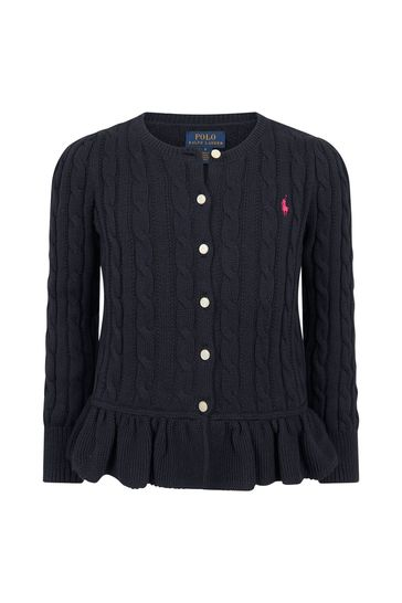 Girls Navy Cotton Cardigan