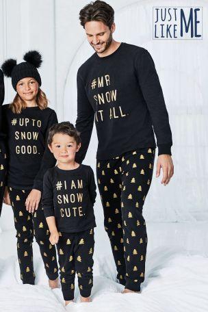 Black/Gold Kids Matching Family Slogan Pyjamas (0mths-8yrs)