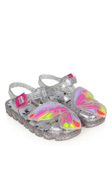 Girls Silver Butterly Jelly Sandals