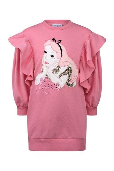 Girls Pink Cotton Alice Sweater Dress