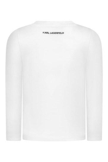 걸스 화이트 롱 슬리브 칼 & 츄펫 티셔츠