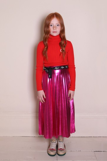 Kids Beige/Pink Leather Screener Trainers