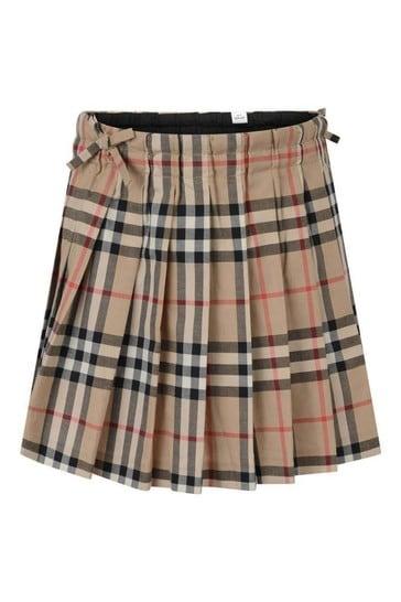 Girls Archive Beige Check Skirt