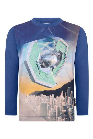 Boys Blue Present Organic Cotton Long Sleeve T-Shirt