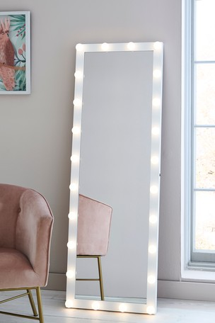 Hollywood Lit Floor Mirror From The, Big Standing Mirror With Light Bulbs
