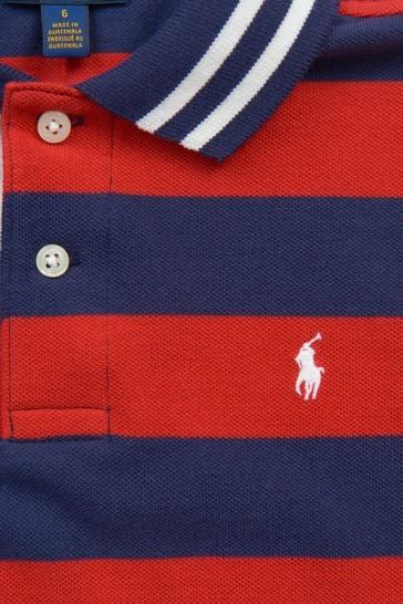 Boys Red Striped Cotton Polo Top